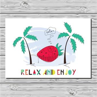 Illustration de bel été à la fraise.