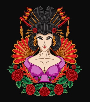 Illustration belle femme geisha avec ornement de fleur rose