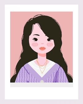 Illustration de belle fille blanche.