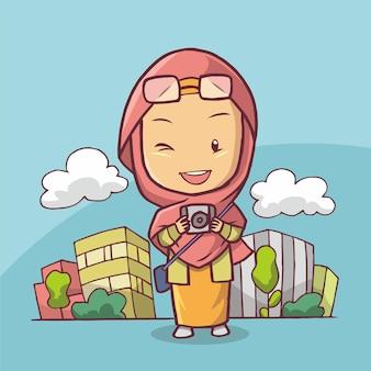 Illustration d'une belle fille musulmane portant un appareil photo comme un photographe. art dessiné à la main