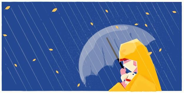 Illustration belle fille portant un masque médical ou hygiénique sous la pluie avec son chien, en manteau de pluie sous parapluie
