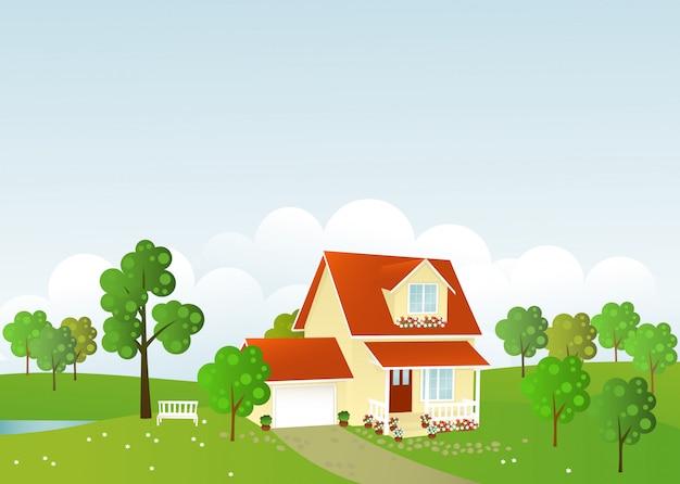 Illustration De La Belle Maison Vecteur Premium