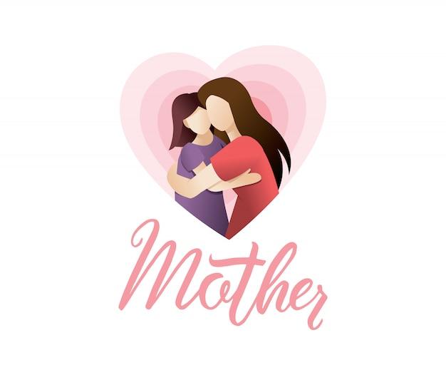 Illustration de belles femmes avec ses enfants