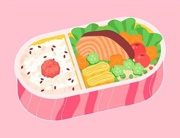 Illustration de bento umeboshi dessiné à la main