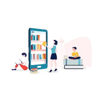 Illustration de la bibliothèque internet dans un style plat