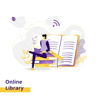 Illustration de la bibliothèque en ligne