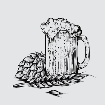 Illustration de la bière artisanale dans un style gravé