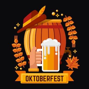 Illustration de bière événement oktoberfest dessiné à la main