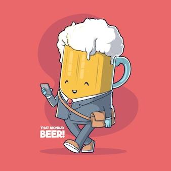 Illustration de bière de lundi concept de design drôle d'inspiration de motivation