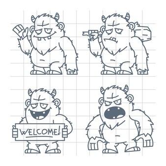 Illustration, bigfoot wicked good avec gourdin doodle, format eps 10