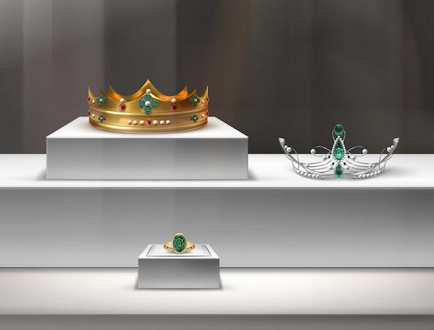 Illustration de bijoux dans une vitrine avec couronne dorée, diadème et bague