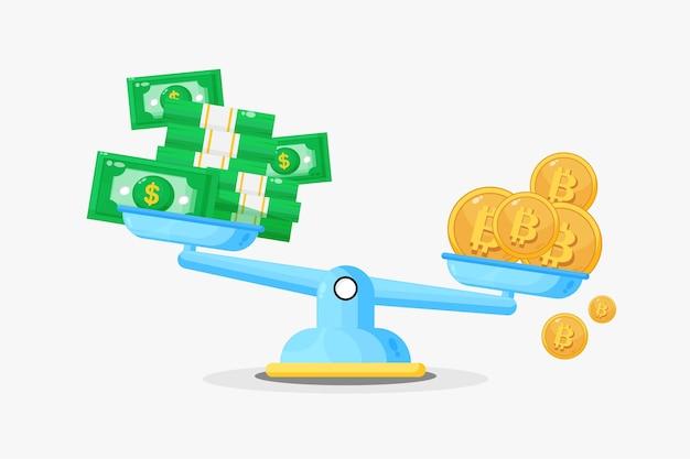 Illustration de billets de banque et de bitcoins à l'échelle