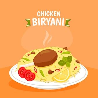 Illustration de biryani de poulet dessiné à la main
