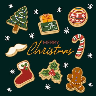 Illustration de biscuits de noël avec des flocons de neige