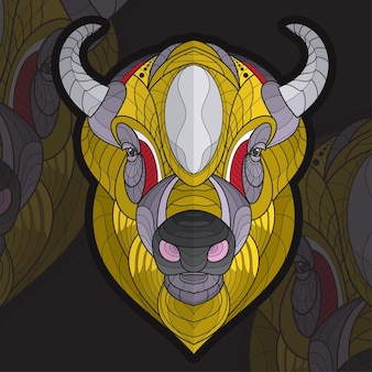 Illustration de bison à colorier animal stylisé zentangle