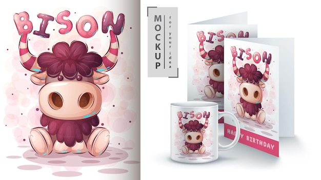 Illustration de bison mignon et merchandising