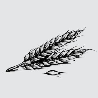 Illustration de blé dans le style gravé