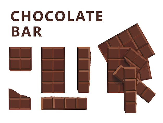 Illustration de bloc et de morceaux de bloc de lait au chocolat