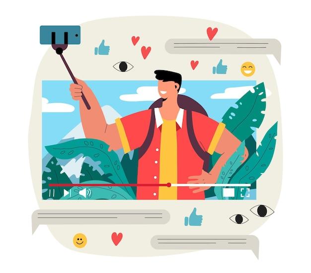 Illustration de blogging vidéo d'influenceur