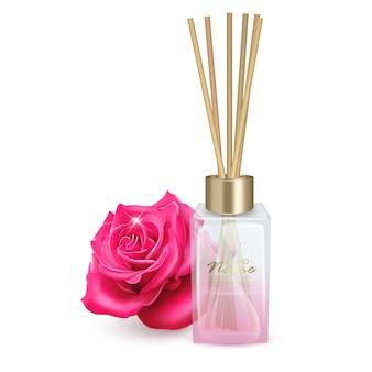 Illustration bocal en verre avec des bâtons d'arôme arôme de bâtons de roses illustration réaliste