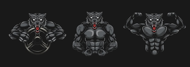 Illustration de bodybuilder de loup