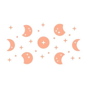 Illustration bohème avec la lune et les étoiles