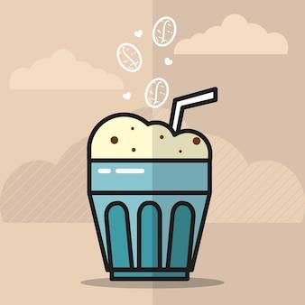 Illustration de boisson au café glacé avec des icônes de haricots