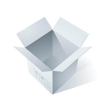 Illustration de boîte en carton ouverte vide