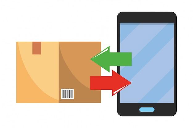 Illustration de la boîte et du téléphone portable