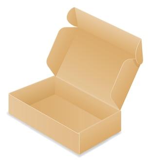 Illustration de boîte d'emballage en carton brun isolé sur fond blanc