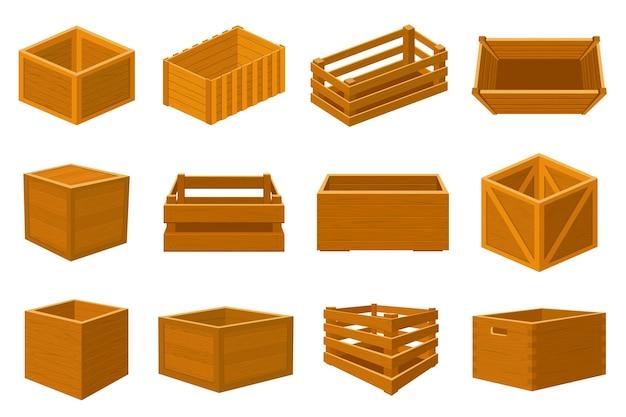 Illustration de boîtes et de colis en bois vides