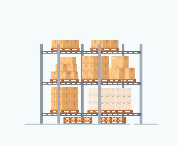 Illustration de boîtes sur des étagères le dessin est en trois dimensions