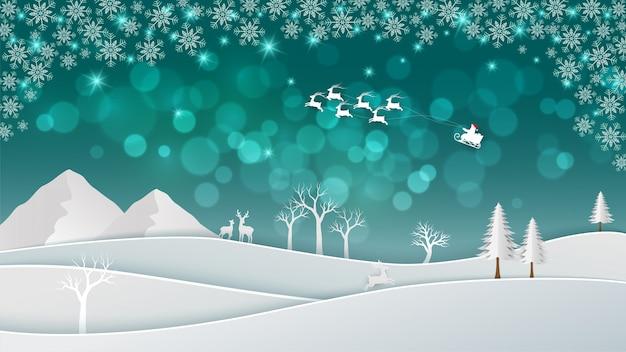 Illustration de bokeh de noël avec le père noël venant dans la nuit d'hiver