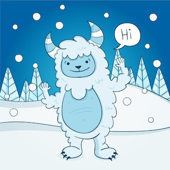 Illustration de bonhomme de neige abominable yeti dessiné à la main