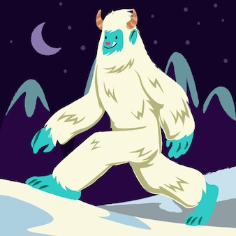 Illustration de bonhomme de neige abominable yeti dessiné à la main
