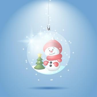Illustration d'un bonhomme de neige et d'un arbre de noël à l'intérieur d'une boule de verre enneigée