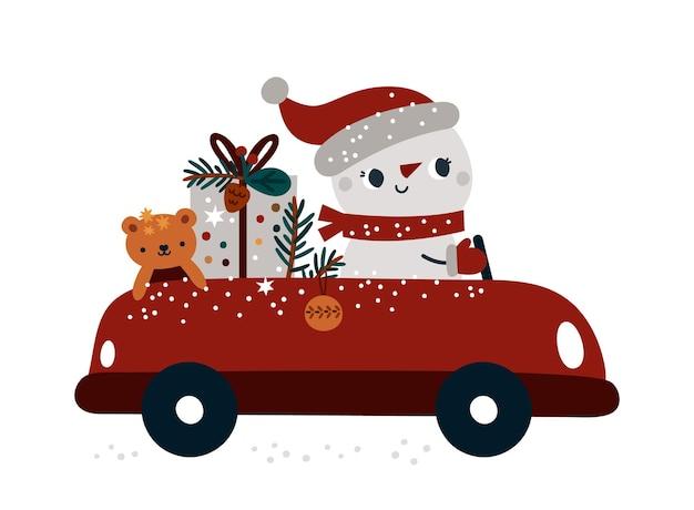Illustration de bonne année bonhomme de neige de dessin animé en voiture avec boîte-cadeau et arbre de noël