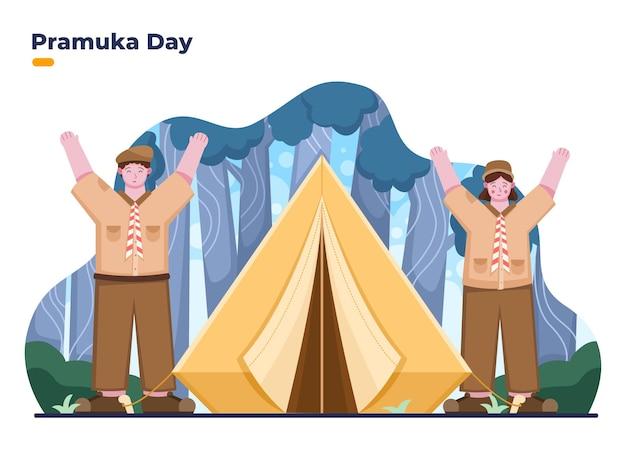 Illustration de la bonne journée pramuka avec un garçon et une fille pramuka au camp