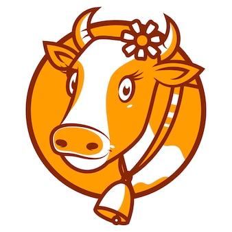 Illustration, bonne vache souriante emblème, format eps 10