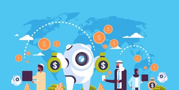 Illustration de bot bancaire avec des personnes arabes