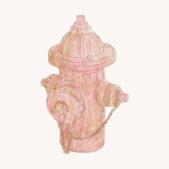 Illustration de bouche d'incendie de style aquarelle