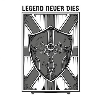 Illustration de bouclier de légende en noir et blanc