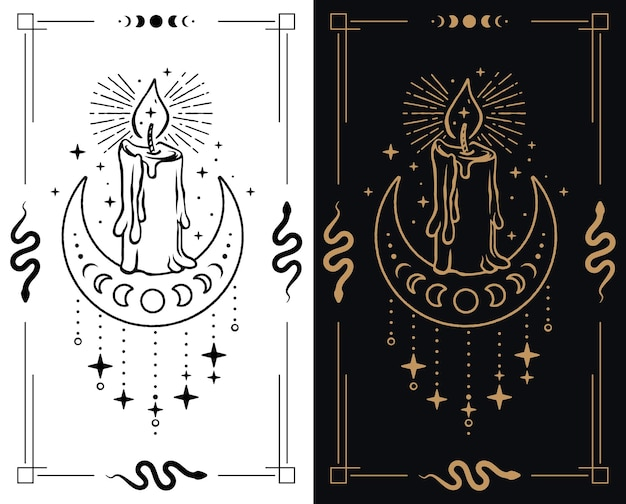 Illustration d'une bougie flamboyante mystique avec de la cire fondante sur une demi-lune