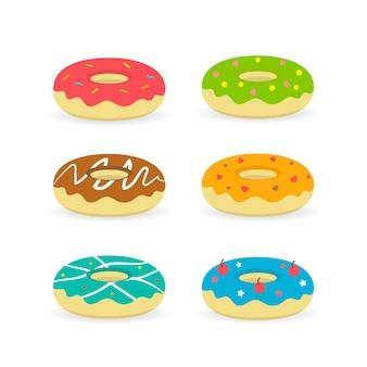 Illustration de boulangerie étiquette alimentaire ensemble de desserts isolé