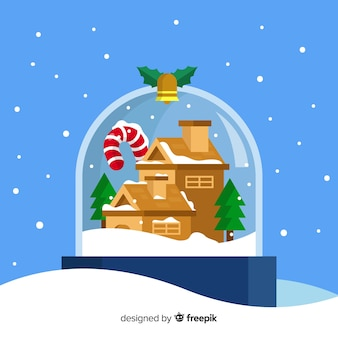 Illustration de boule de neige de noël plat
