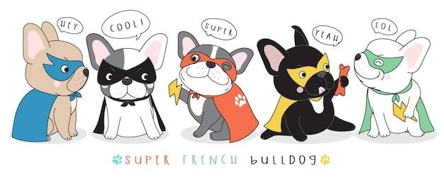 Illustration de bouledogue français mignon doodle