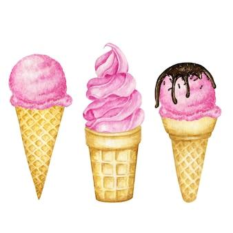 Illustration de boules de glace à la framboise et à la fraise rose