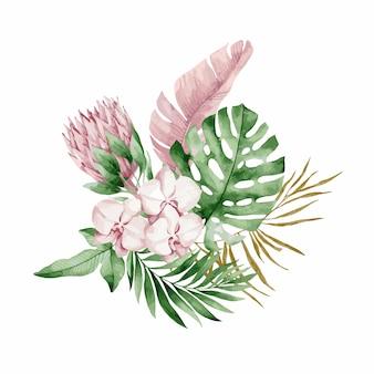 Illustration, bouquet aquarelle avec feuilles et fleurs tropicales, orchidée blanche, rose rose et anthurium blanc, monstera et feuilles de palmier.
