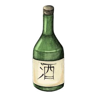 Illustration de la bouteille d'alcool japonais