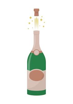 Illustration de bouteille de champagne isolé sur fond blanc